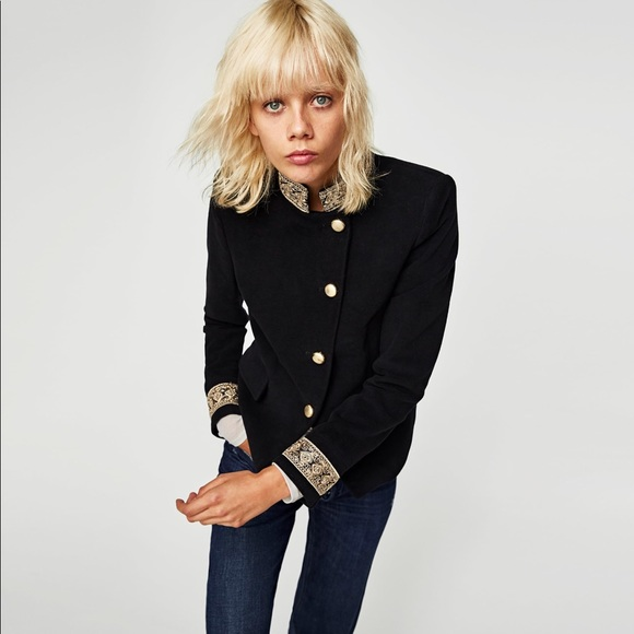 54a40330 Zara Jackets & Coats | Velvet Jacket With Passementerie In Blackmwt ...